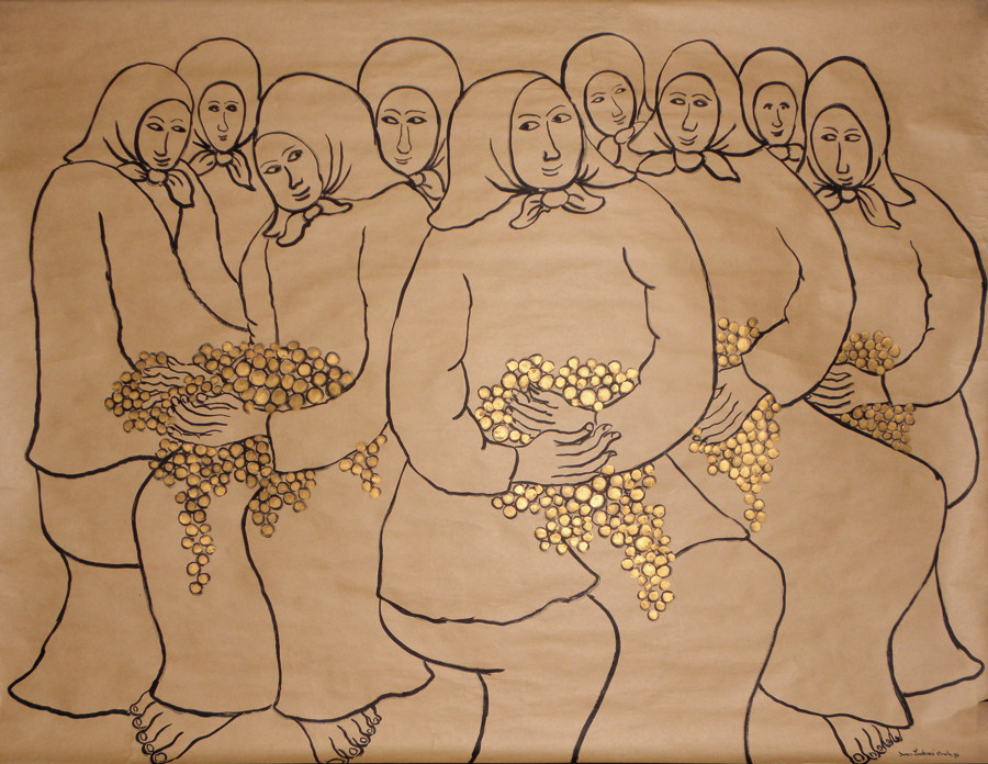 IVAN LACKOVIĆ CROATA (Hrvaška / Horvátország) Plodovi besa / Düh gyümölcse 1977, pozlata, tuš, papir / aranyozás, tus, papír