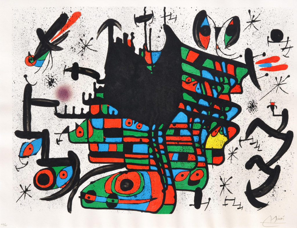 Homenatge a Joan Prats, 1971, Barvna litografija/Színes litográfia/Color lithograph, WVZ Mourlot 729, 62 x 80 cm